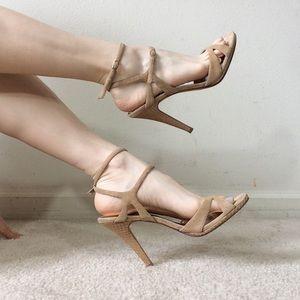 Charles David Nude Tan Suede Strappy Heels